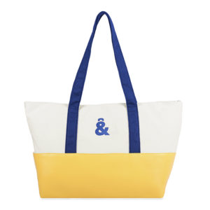 SIMIL PIEL,BOLSO SHOPPER BLANCO/AMARILLO