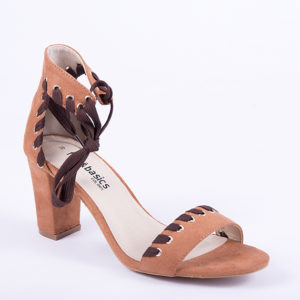 SANDALIA TACON SIMIL PIEL MARRON